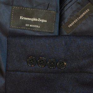 $2195 48R Ermenegildo Zegna Blue Herringbone coat